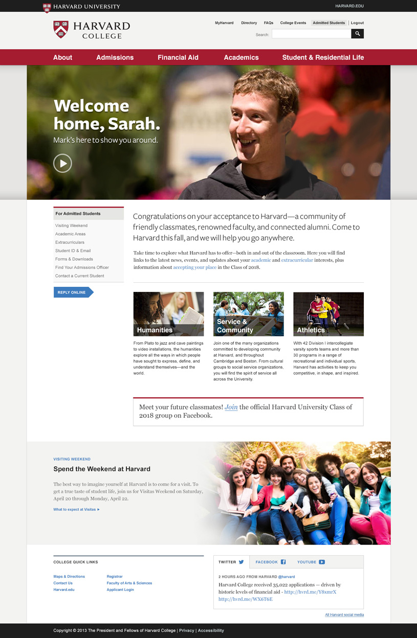 Admitted Students Homepage