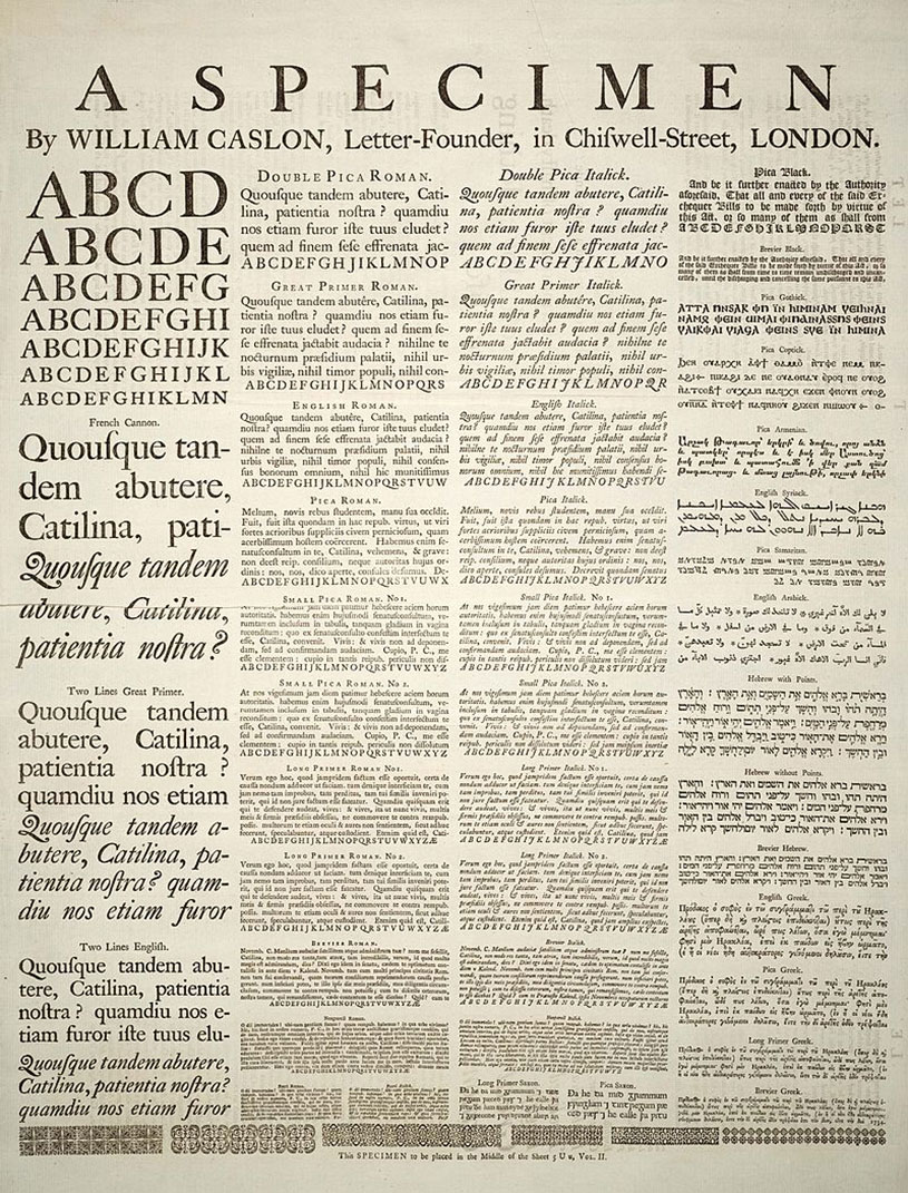 First Caslon specimen